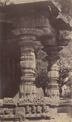 Close view of carved pillars at entrance to south porch of the Dodda Basappa Temple, Dambal